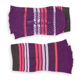 Gaiam Toeless Yoga Sock - Pink/purple