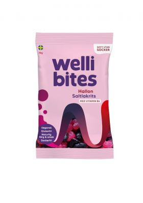 Wellibites Bringebær og salt lakris