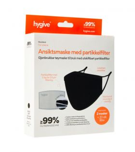 Hygive Tøymunnbind med 20 stk. engangsfilter