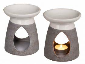 Oljelampe keramikk i hvit og grå